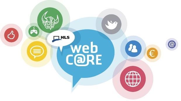 Das alte Webcare-Logo bestand aus vielen bunten Kreisen mit Symbolen drin.