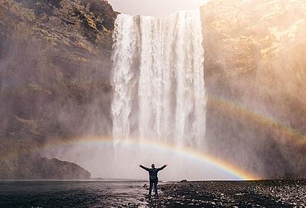 Social Media und Genuss, Wasserfall und Regenbogen