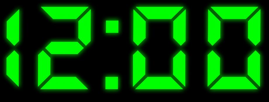 Eine Digital-Uhr zeigt 12 Uhr an.
