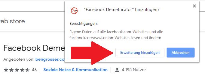 Screenshot, wie Google Chrome um Erlaubnis fragt, den Facebook Demetricator hinzufügen zu dürfen.