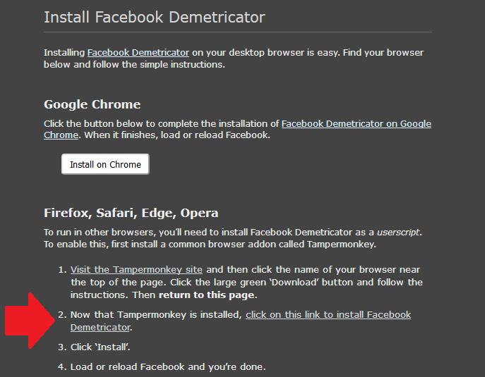 Screenshot von der Website, auf der man den Facebook Demetricator für Mozialle Firefox herunterladen kann.
