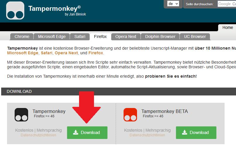 Screenshot von der Website, auf der man das Add-on Tapermonkey herunterladen kann.