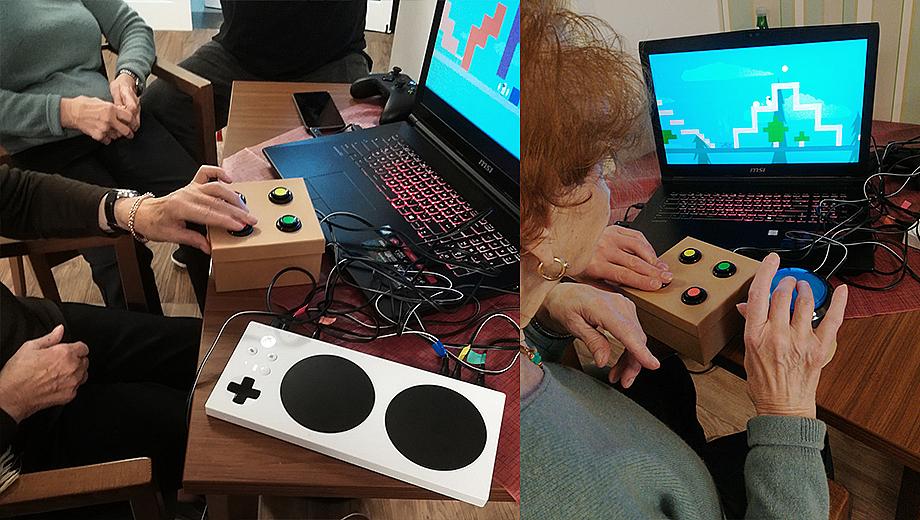 Gamification: Die Bewohner*innen eines Altenzentrums spielen mit Janas Drucktastern