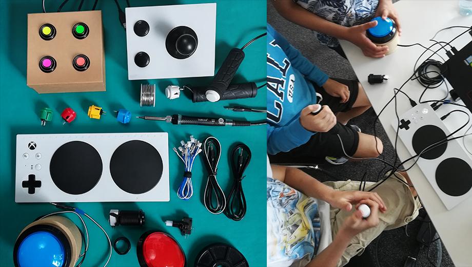 Viele bunte Taster: Für ihre Gamification-Arbeit setzt Jana selbst gebaute Druck-Knöpfe ein