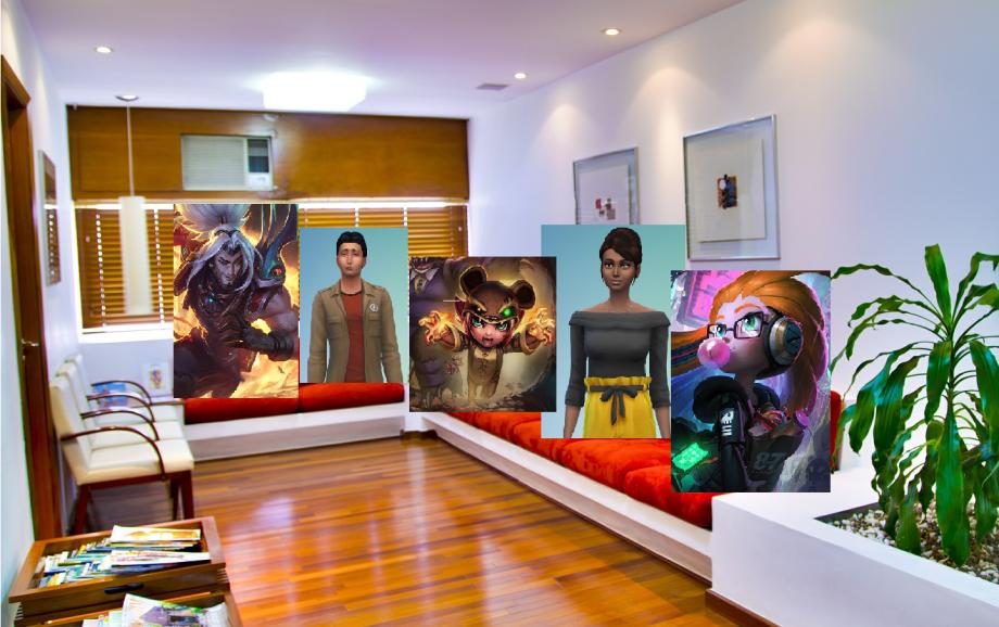 Avatare aus verschiedenen Computerspielen sitzen in einem Wartezimmer