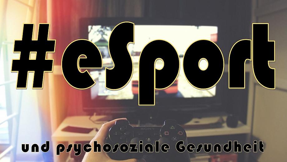 eSport Webinar-Titel psychosoziale Gesundheit, im Hintergrund ein Bildschirm mit Autorennen und ein Playstation-Controller