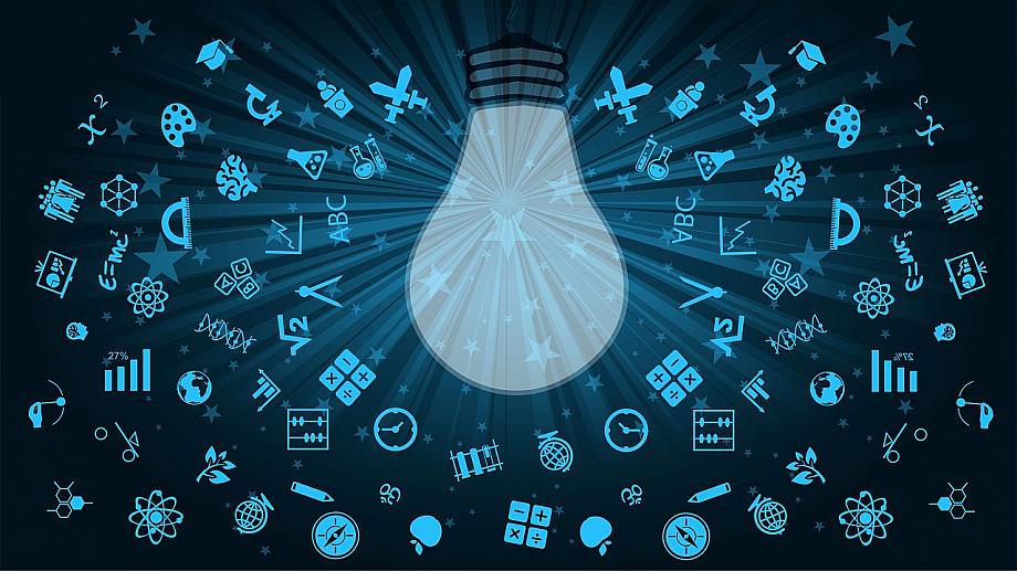 Glühbirne in der Mitte, draumherum allerlei Piktogramme und Symbole