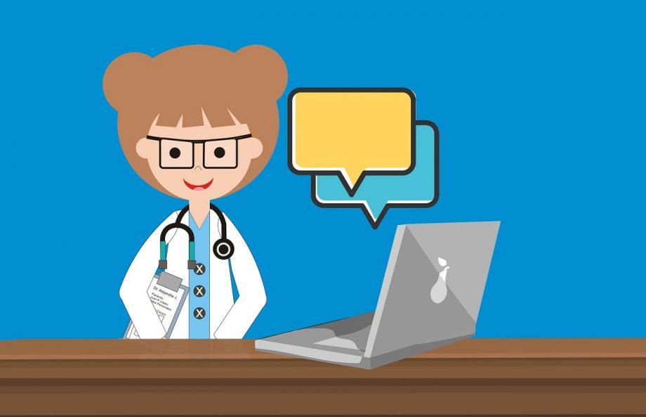 Eine Illustration zeigt einen Frau im weißen Kittel vor einem Laptop. Über ihm schweben zwei Sprechblasen ohne Text.