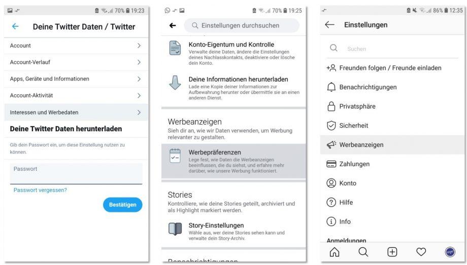Screenshots vom Einstellungsmenü bei Twitter, Facebook und Instagram
