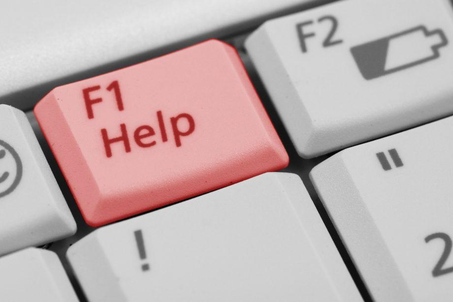 Die Taste F1 beziehungsweise Hilfe auf einer Computer-Tastatur.