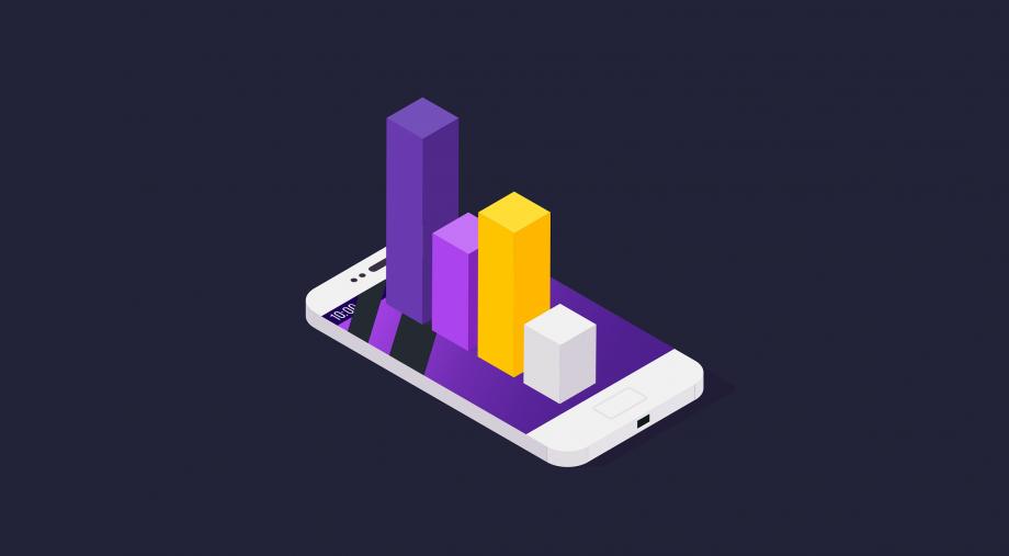 Säulendiagramm auf einem Smartphone