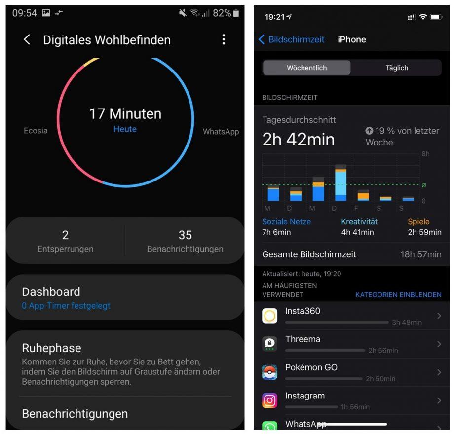 Screenshots Bildschirmzeit und DIgitales Wohlbefinden Übersicht